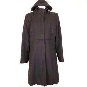 Empire waist wool zip long hooded Structured coat